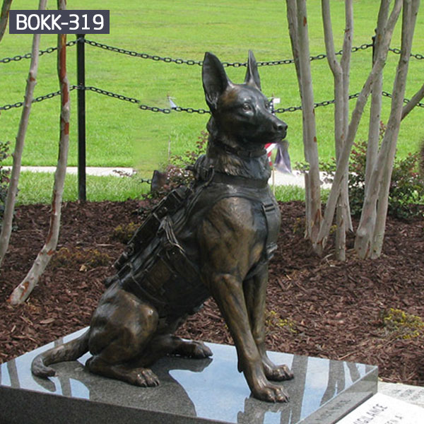 Military life size hunter sitting dog metal bronze statues monuments