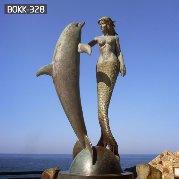 Life size beautiful lady and fish bronze mermaid garden sculptures for sale