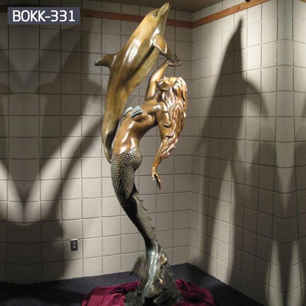 Outdoor metal bronze decor little mermaid statue for sale
