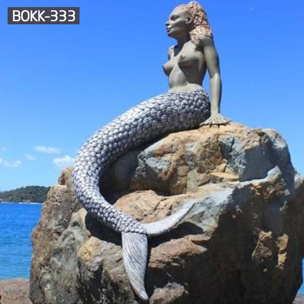 Outdoor mermaid statue bronze art for decor