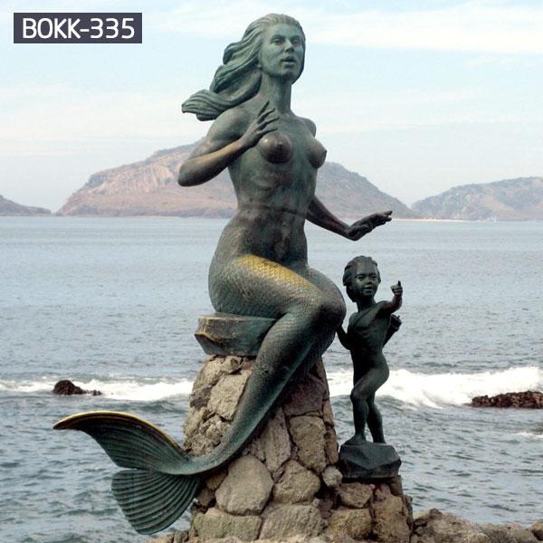 Metal bronze outdoor mermaid garden sculpture for sale