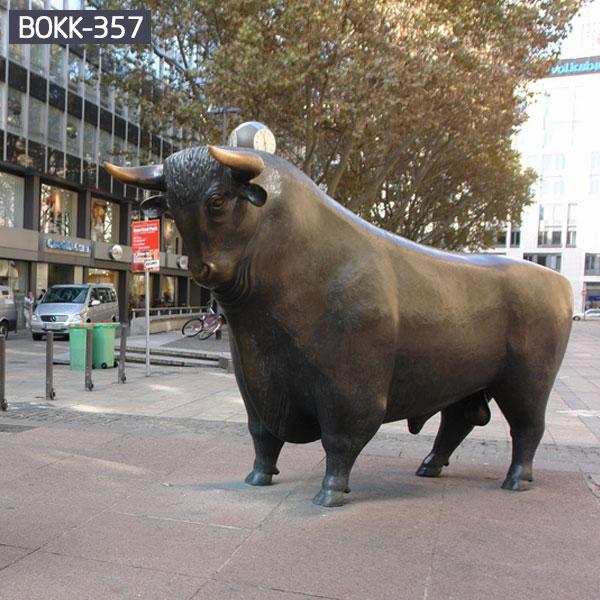 Market raging bull bronze sculpture for public commercial street decor