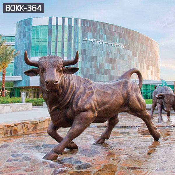 Outdoor bronze spanish bull sculpture for public street decor