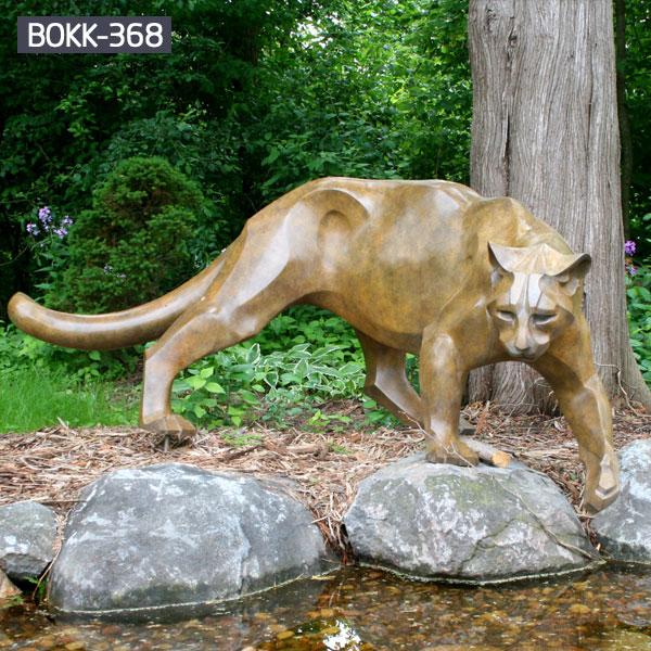 Large cat bronze sculptures outdoor yard decor