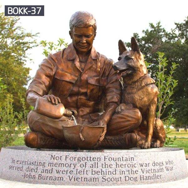 Bronze military memorials solider and dog statues for sale
