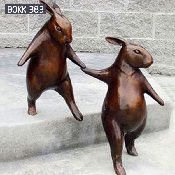 Two bronze casting standing rabbits for lawn ornaments costs