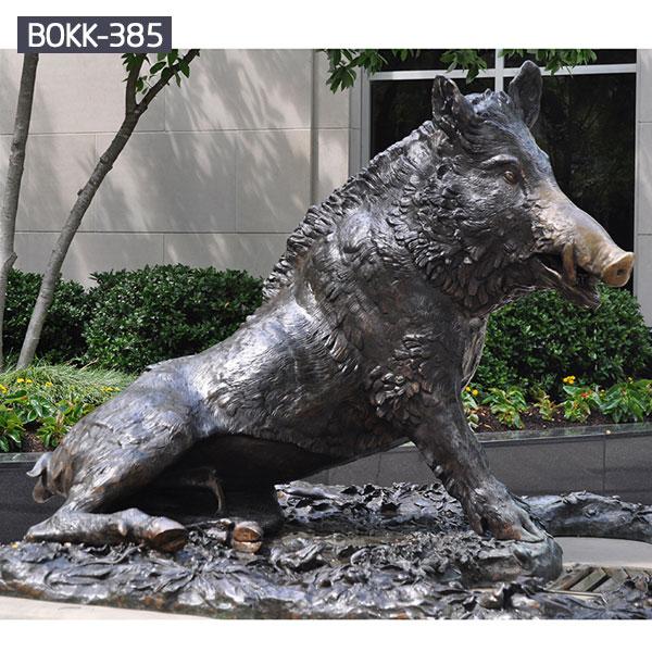 Wild boar metal bronze life size sculpture for garden sculptures
