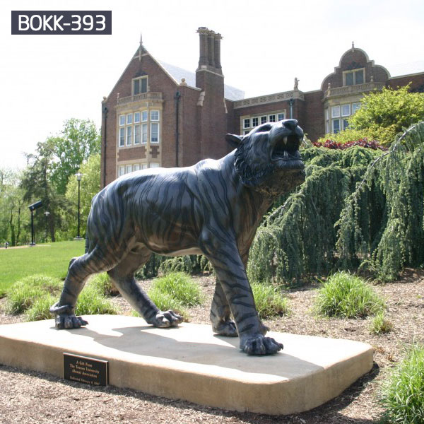 Life size standing bronze tiger with base outdoor