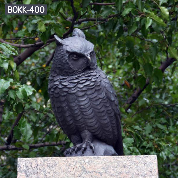 Black owl bronze casting garden metal decor for sale