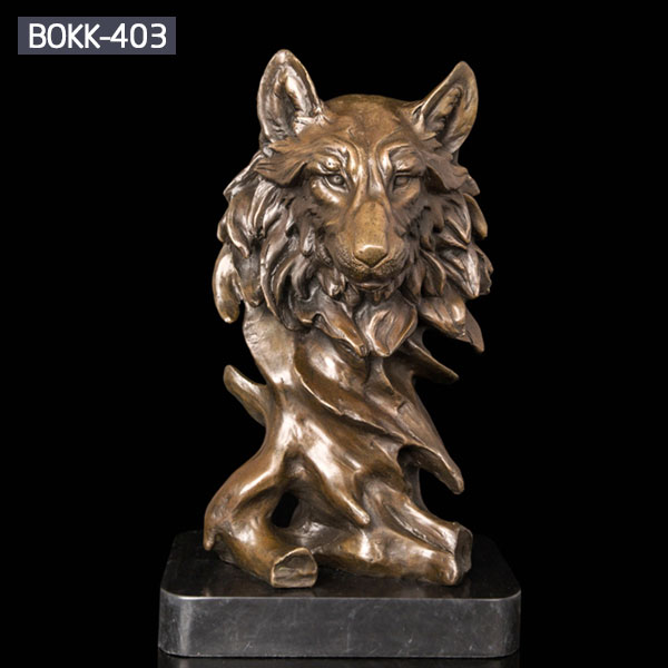 Bronze fox head animal bust bronze statues with base for sale