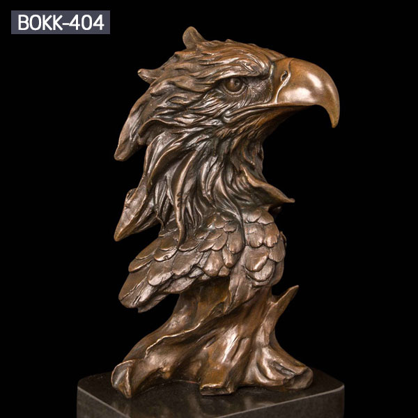 Bronze wildlife animal head statues of eagle for home decor