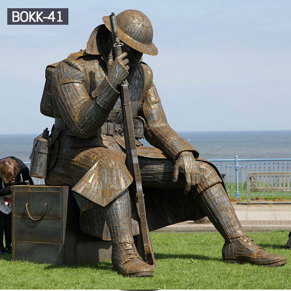 life size military solider garden bronze casting statues outdoor