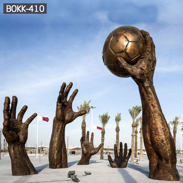 Famous large bronze sculpture hand hold ball outdoor decor