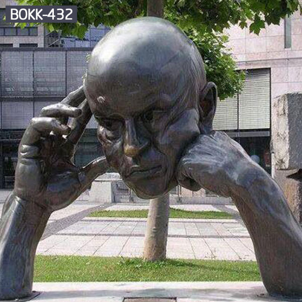 Modern city street decor large man head and hand bronze sculptures for sale
