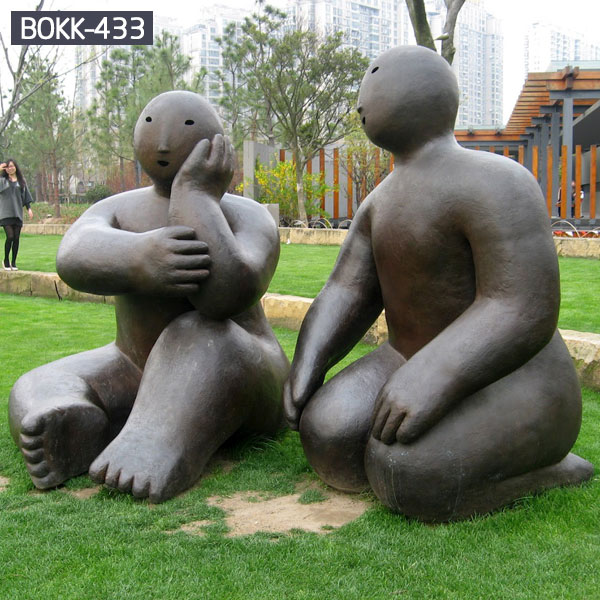 Outdoor abstract figure couple bronze casting garden statues
