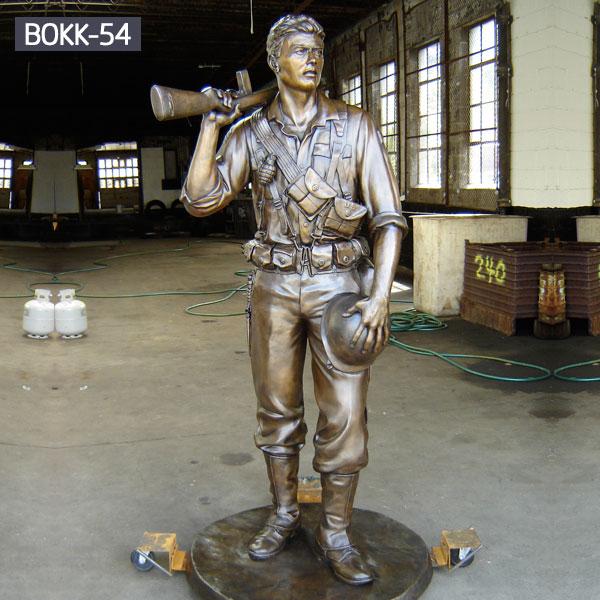 Metal bronze statues of life size soldier outdoor garden decor