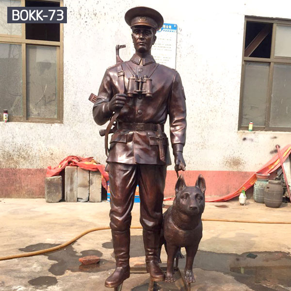Life size metal casting solider and dog statues outdoor