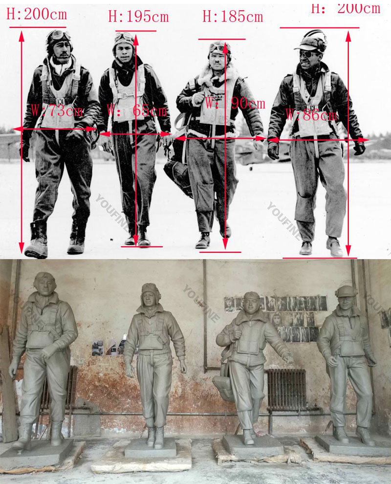 Bespoke clay model and metal bronze military life size pilot soldiers statues from a photo