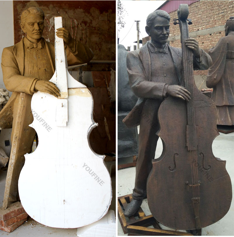 Bespoke life size cellist clay model and bronze casting statues for sale