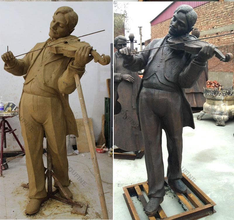 Bespoke life size violinist bronze casting garden statues for sale