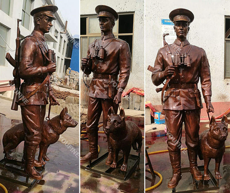 Custom make bronze military life size solider and dog statues designs outdoor
