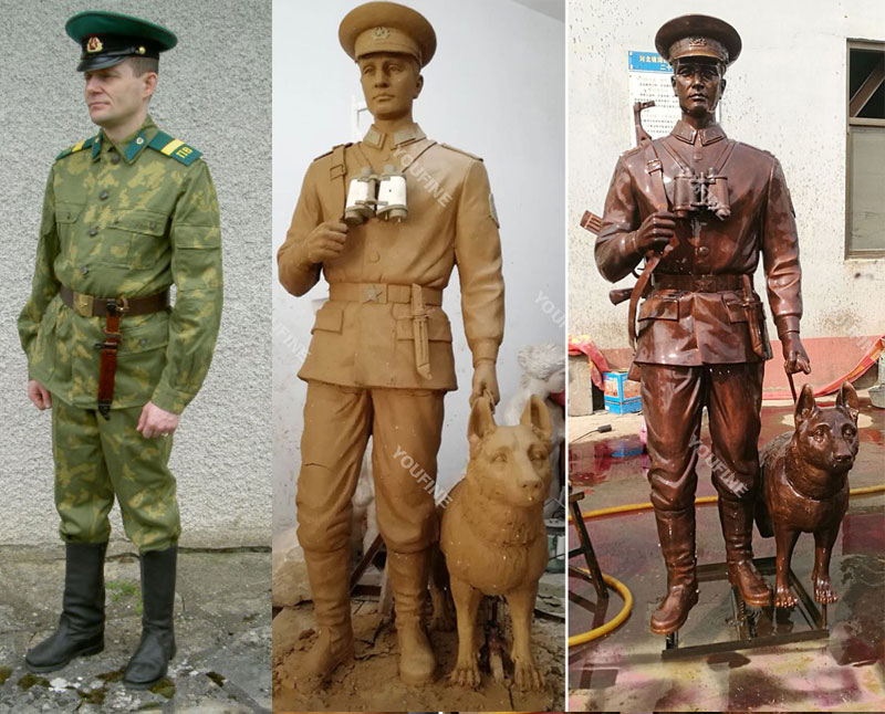 Custom make bronze military life size solider and dog statues from a photo