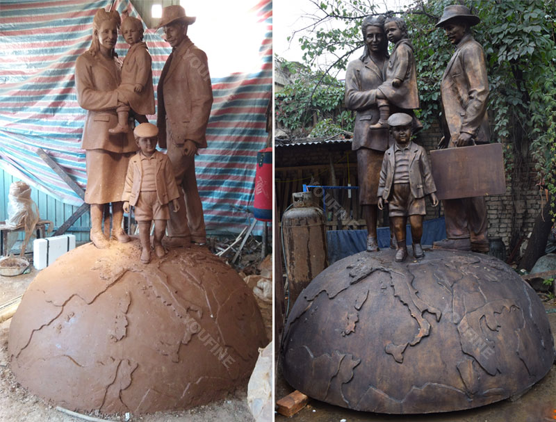 Custom make clay model and bronze casting life size fimaly number standing on the globe sculpture