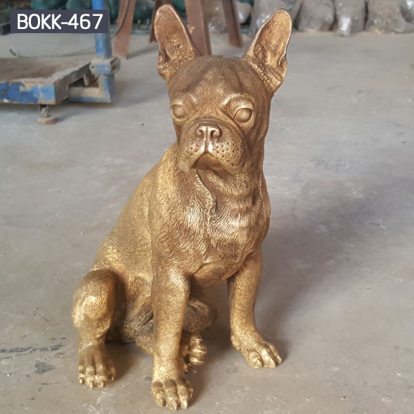 Full size bronze boxer dog statue for garden ornaments