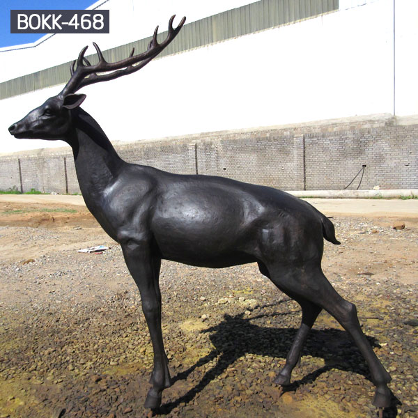 Life size antique bronze deer wildlife animal statues for sale