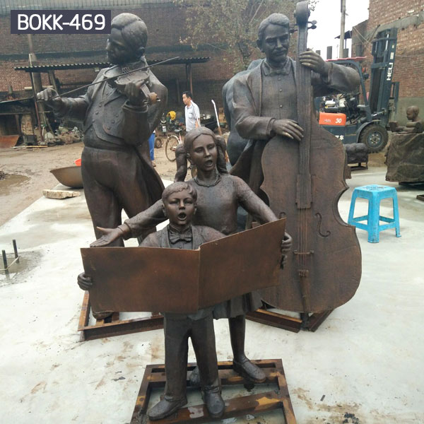 Life size bronze casting music performs garden figure statues for sale