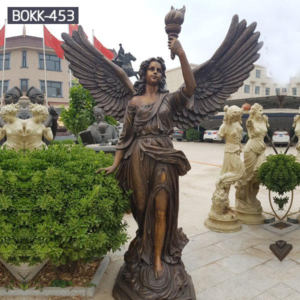 Outdoor garden decor bronze metal angel holding a torch statues for sale