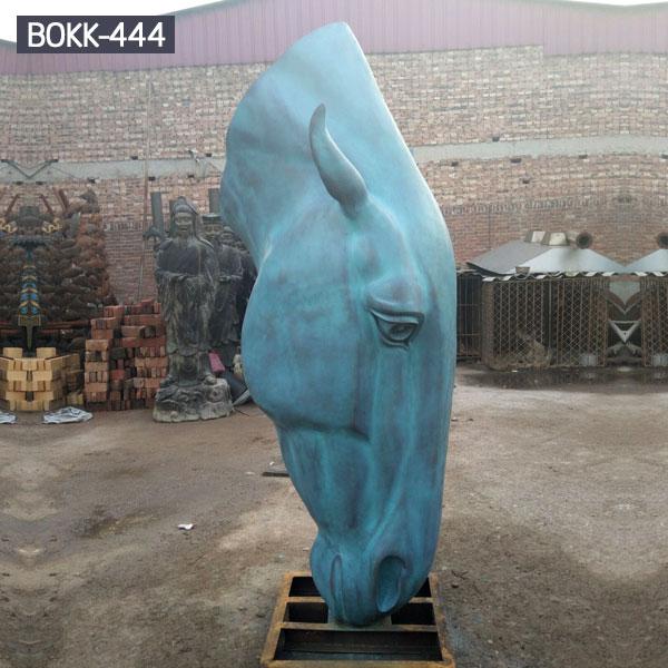 Outdoor large grazing horse head statues bronze garden ornaments costs