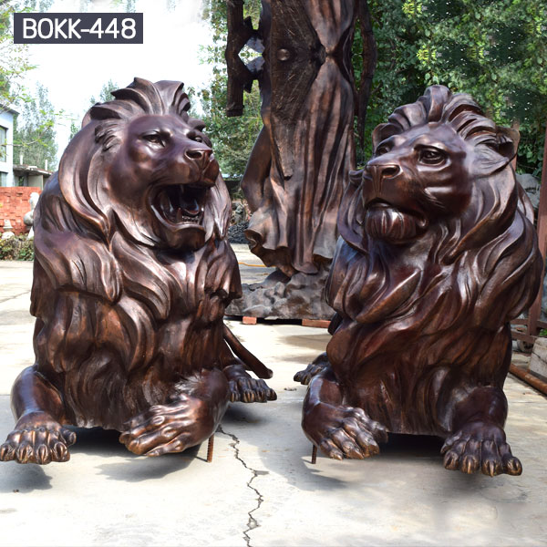 Outdoor life size bronze casting lion statues in pair for sale